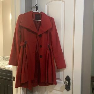High low red coat
